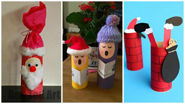 Новогодние поделки из втулок от туалетной бумаги. Фото с сайтов http://www.craftymorning.com</p> <p>https://sewsensational.wordpress.com</p> <p>http://www.redtedart.com
