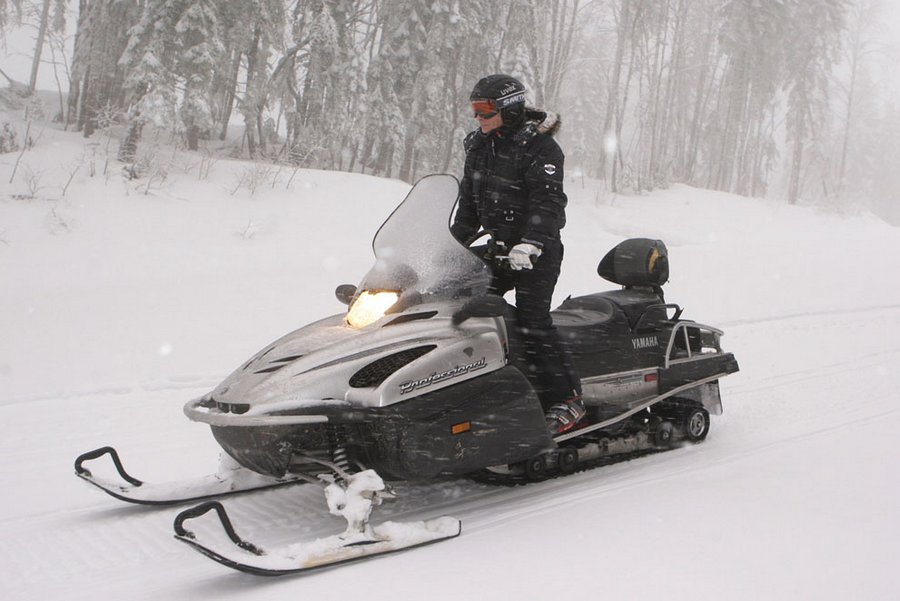 Vladimir Putin on a snowmobile in Krasnaya Polyana ski resort near Sochi, January 3, 2010.