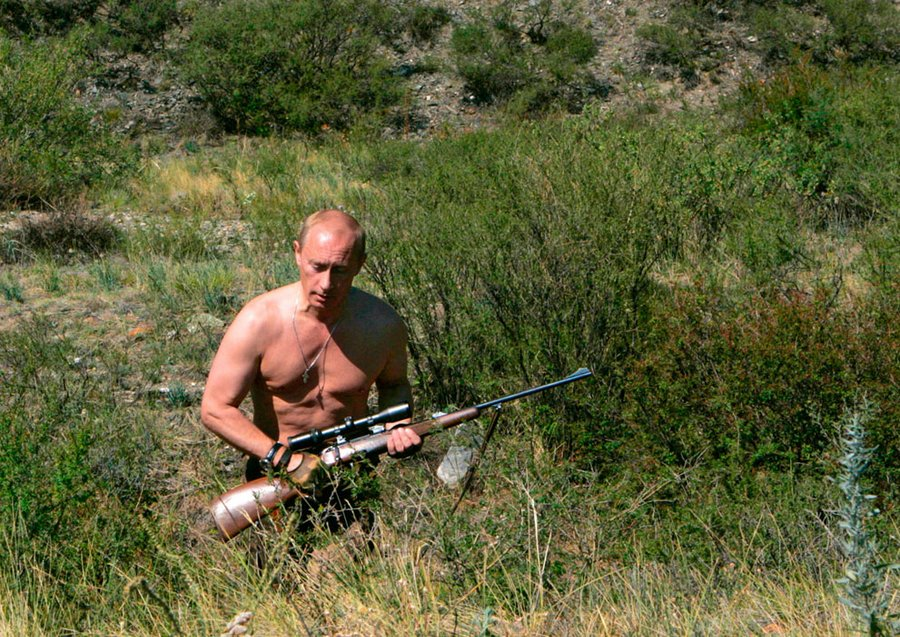 Vladimir Putin in Tuva, South Siberia, August 15, 2007.