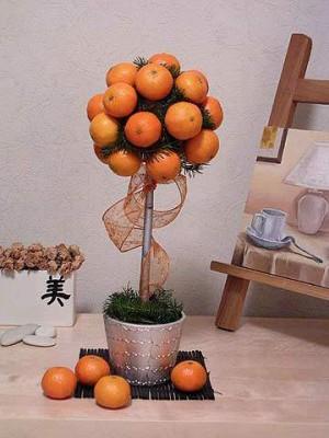 Поделки новогодние из мандарин деревья