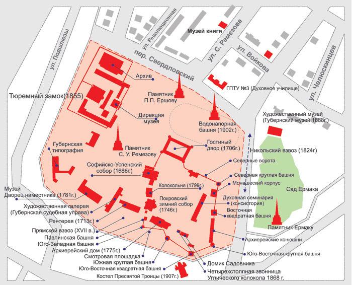 план-схема Тобольского кремля