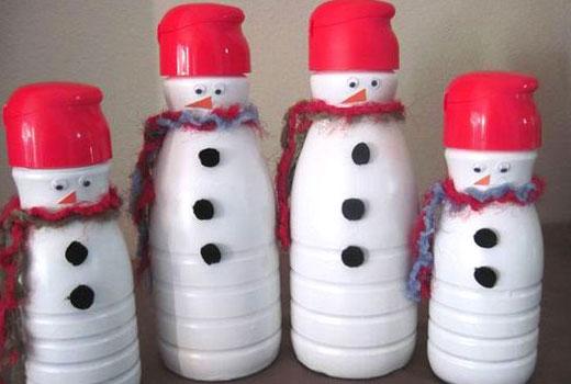 бутылки снеговики