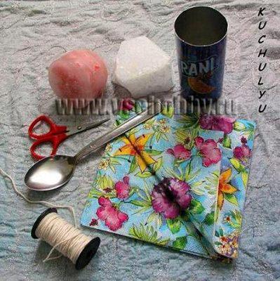 инструменты и материалы, которые потребуются для декупажа свечи своими руками