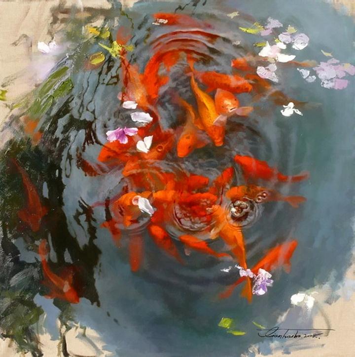 Гармония, красота и умиротворение — прекрасные красные императорские рыбыхудожника Tian Haibo