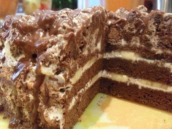 Вкусный и нежный шоколадно-банановый тортик. Нравится всем!