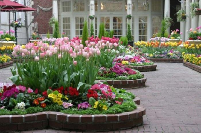 Оформление клумб с цветами - это то, что украсит общий вид во дворе.