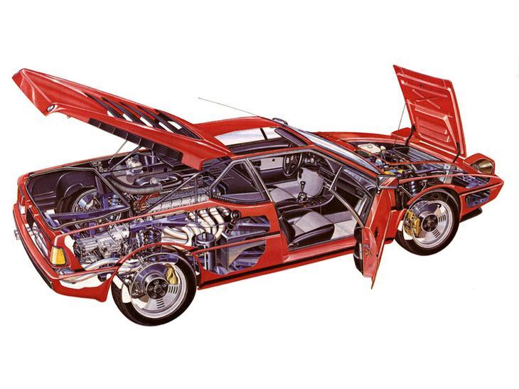 Конструкция BMW M1 на схематическом рисунке