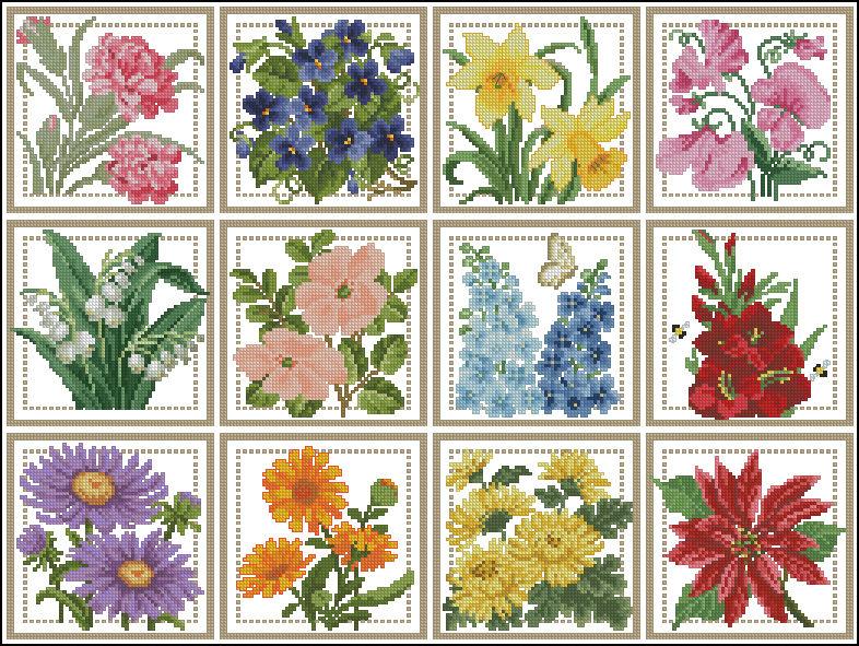 Цветочный календарь --  вышиваем крестиком круглый год