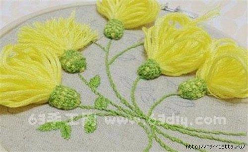 Объемная вышивка. Ромашки, одуванчики, хризантемы и мимоза (26) (500x306, 88Kb)