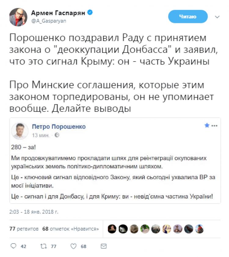 Гаспарян о «сигнале Крыму» после принятия закона о «деоккупации Донбасса»
