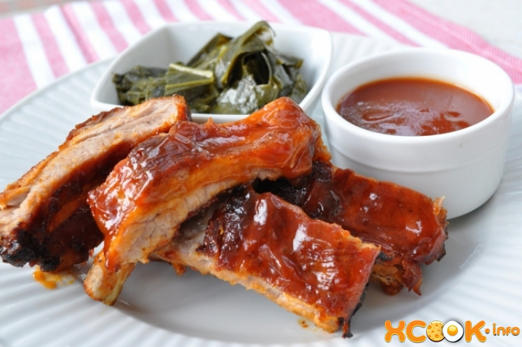 Свиные ребрышки с соусом барбекю -  на мангале