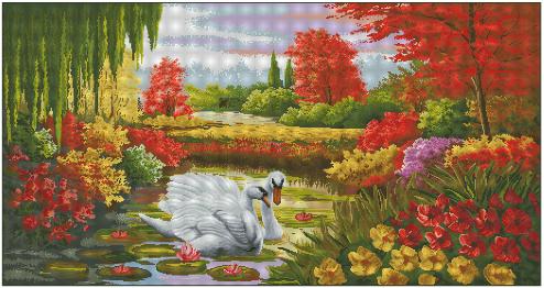 Вышивка «Пейзаж с лебедями»