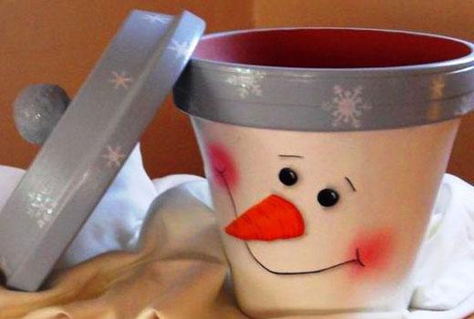 снеговик из горшка