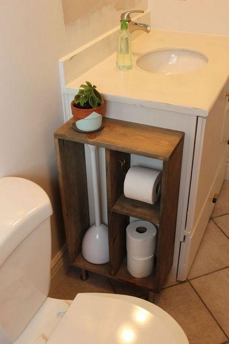 Аккуратное хранение в туалете.