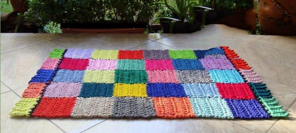 Вязание коврика крючком из тряпок