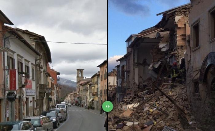 Землятресение в Италии: 8 шокирующих снимков до и после