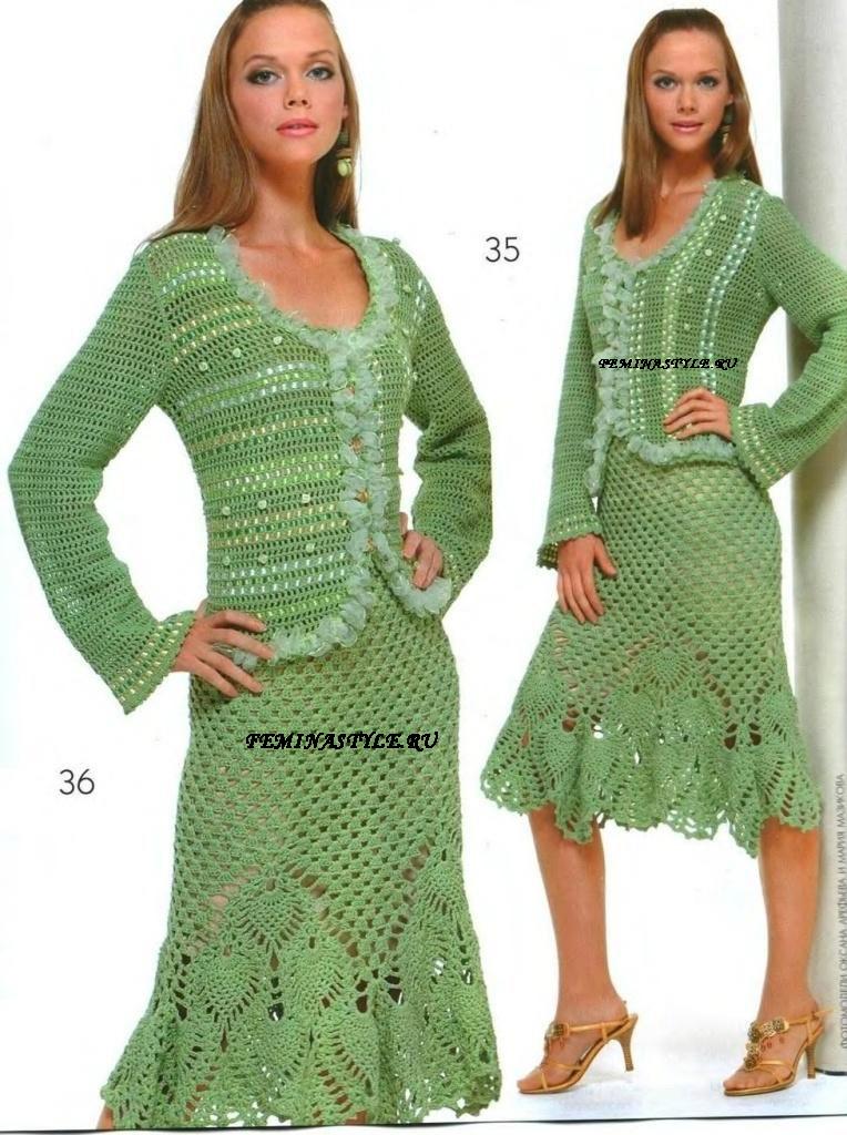 Жакет и юбка салатного цвет
