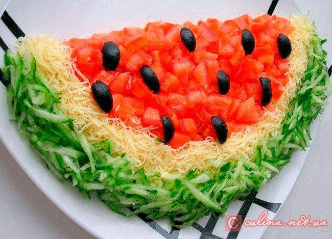 Салат «Арбуз» с фото | с куриным филе и сыром