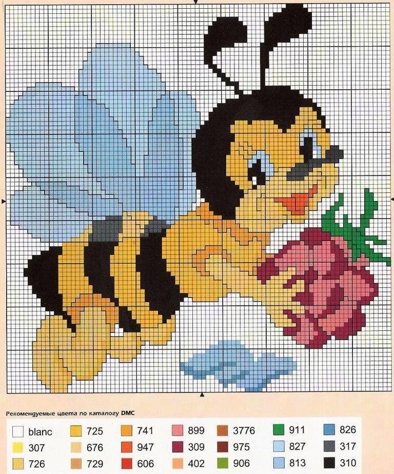 Схему вышивки крестом пчелка 57