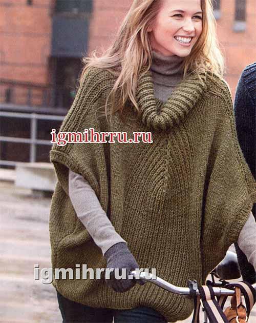 пуловер-пончо с патентными узорами