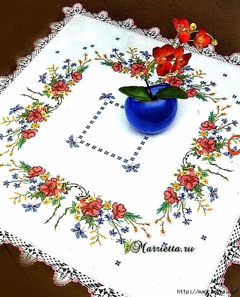 """""""Цветы и бабочки"""" для скатерти — вышивка крестом(со схемой)"""