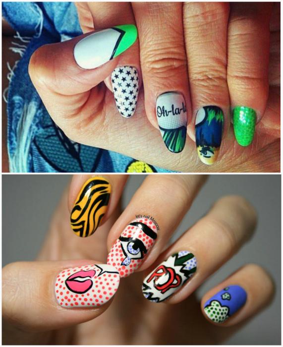 Рисунки в стиле поп-арт. | Фото: Маникюр и дизайн ногтей Beauty-Hands.ru.