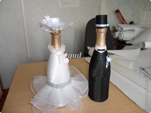 Декор предметов Мастер-класс Свадьба Аппликация Свадебные бутылочки и МК Ленты фото 25
