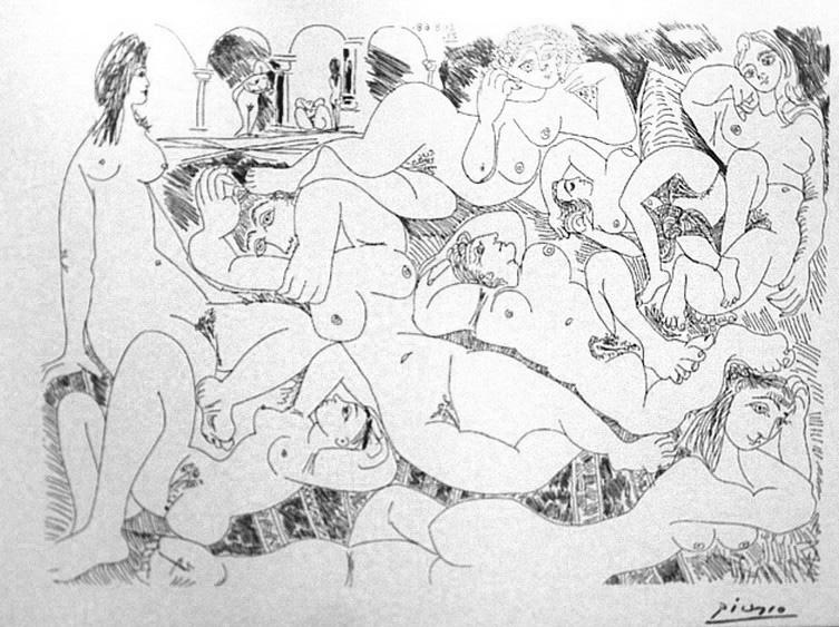 Пабло Пикассо. Прилегшие обнаженные. 1968 год