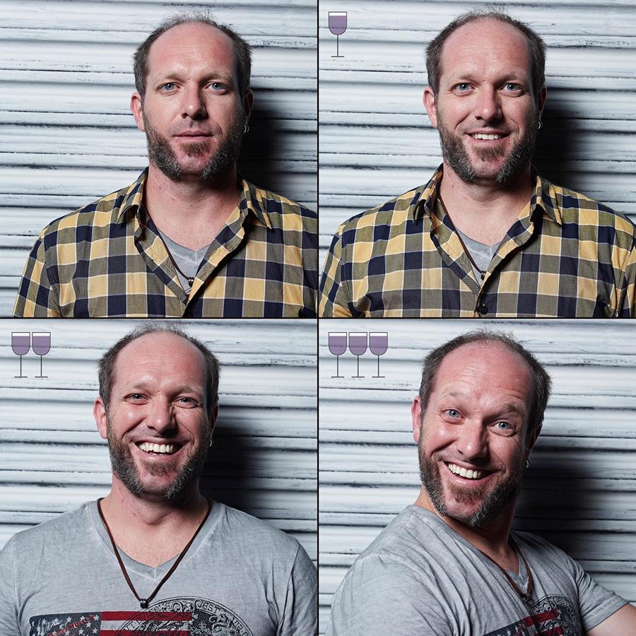 Фотограф показал, как выглядят люди после 1, 2 и 3 бокалов вина