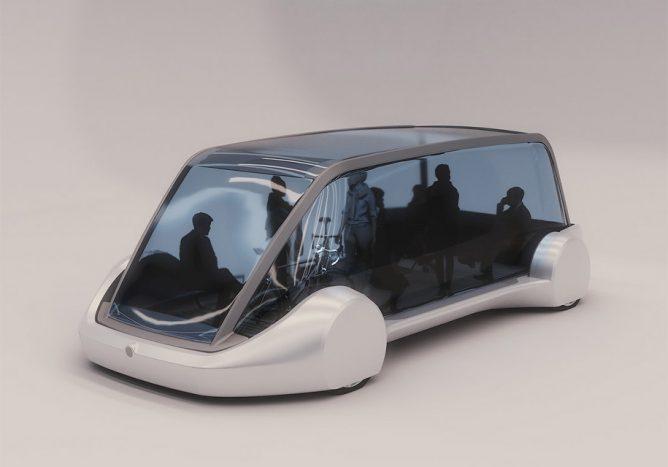 Глава компании «Tesla» презентовал подземный электрический микроавтобу