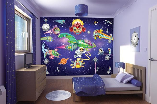 Детская комната для мальчика дизайн собоями