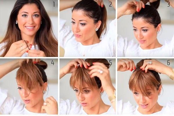 Как сделать чёлку не обрезая волосы фото пошагово