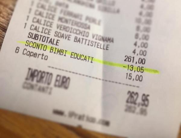 Ресторан предлагает 5% скидку семьям с вежливыми детьми