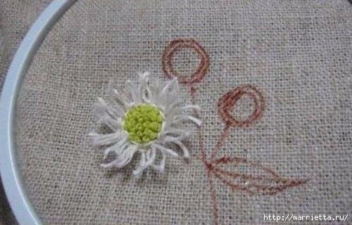 Объемная вышивка. Ромашки, одуванчики, хризантемы и мимоза (6) (500x320, 102Kb)