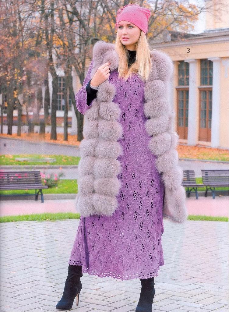 Сногсшибательное теплое платье спицами