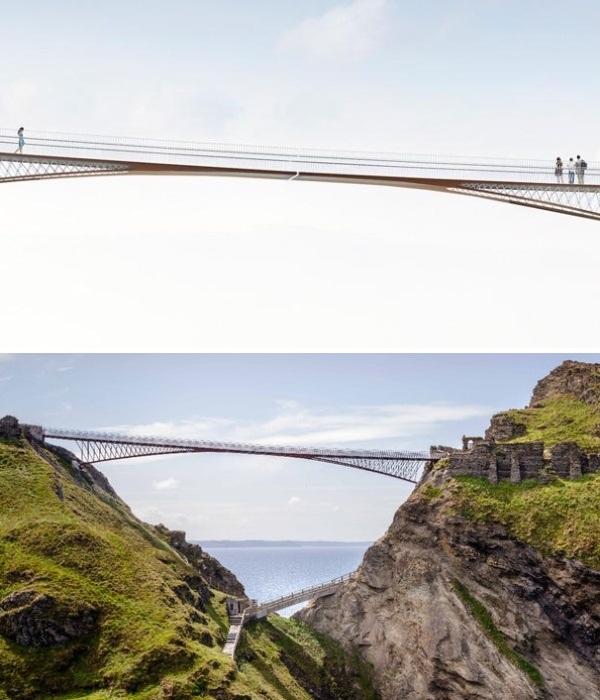 Пешеходный мост над пропастью в Англии без опор и с просветом посередине