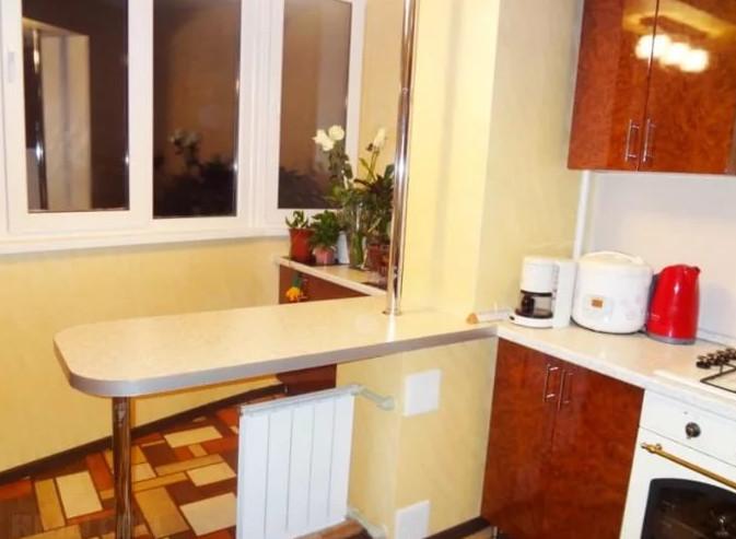 Балкон, присоединенный к кухне. как вам идеи?.