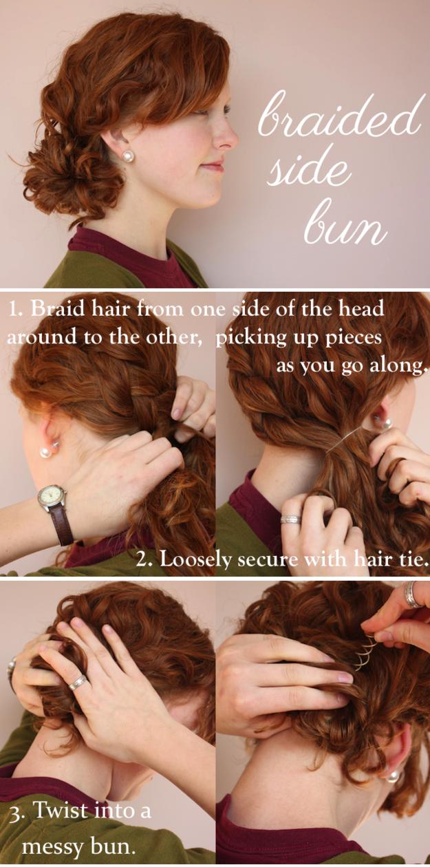Плетеный пучок волосы, кудри, прическа