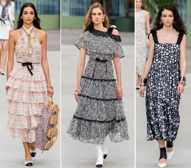 многоярусные платья и на бретельках от Шанель
