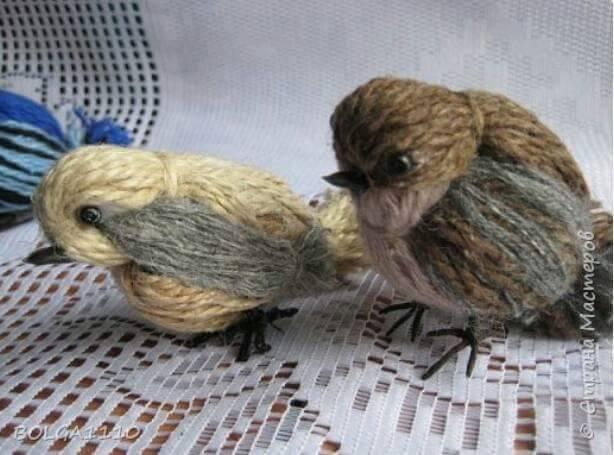 Картинки по запросу птицы из ниток своими руками