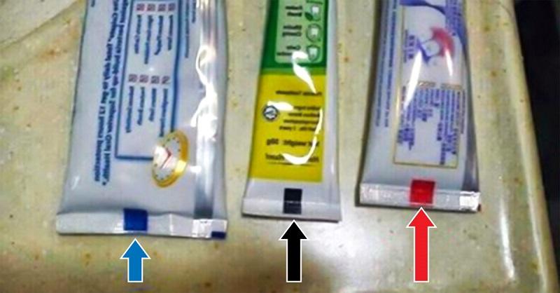 Что означает этот квадратик на зубной пасте: внимательно проверь  какого он цвета!