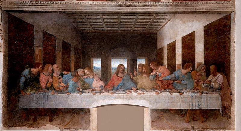 Леонардо да Винчи Тайная вечеря 1495—1498 гг.  Доминиканский монастырь Санта-Мария-делле-Грацие в Милане.