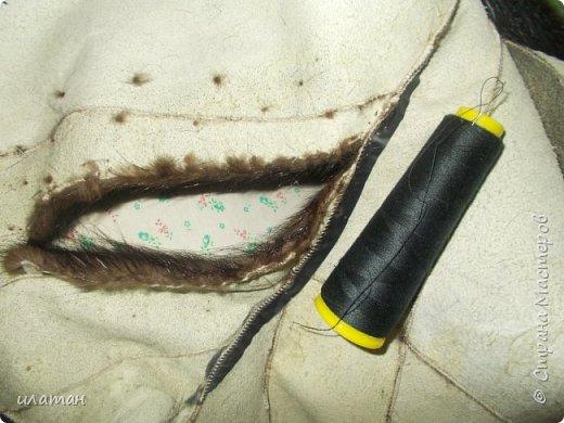 Гардероб Мастер-класс Шитьё Ремонт шубы из натурального меха Клей Мех Нитки Ткань фото 7