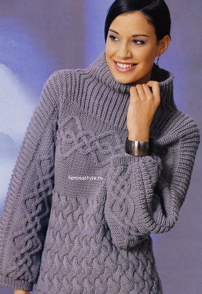 Пуловер с кокеткой поперек