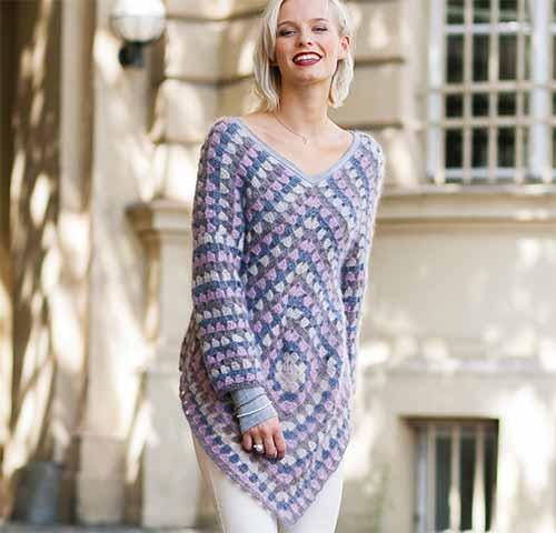 Ажурный пуловер из квадратов