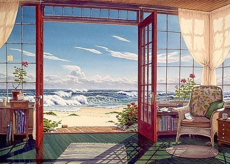 Художник Lee Mothes. Счастье с видом на океан