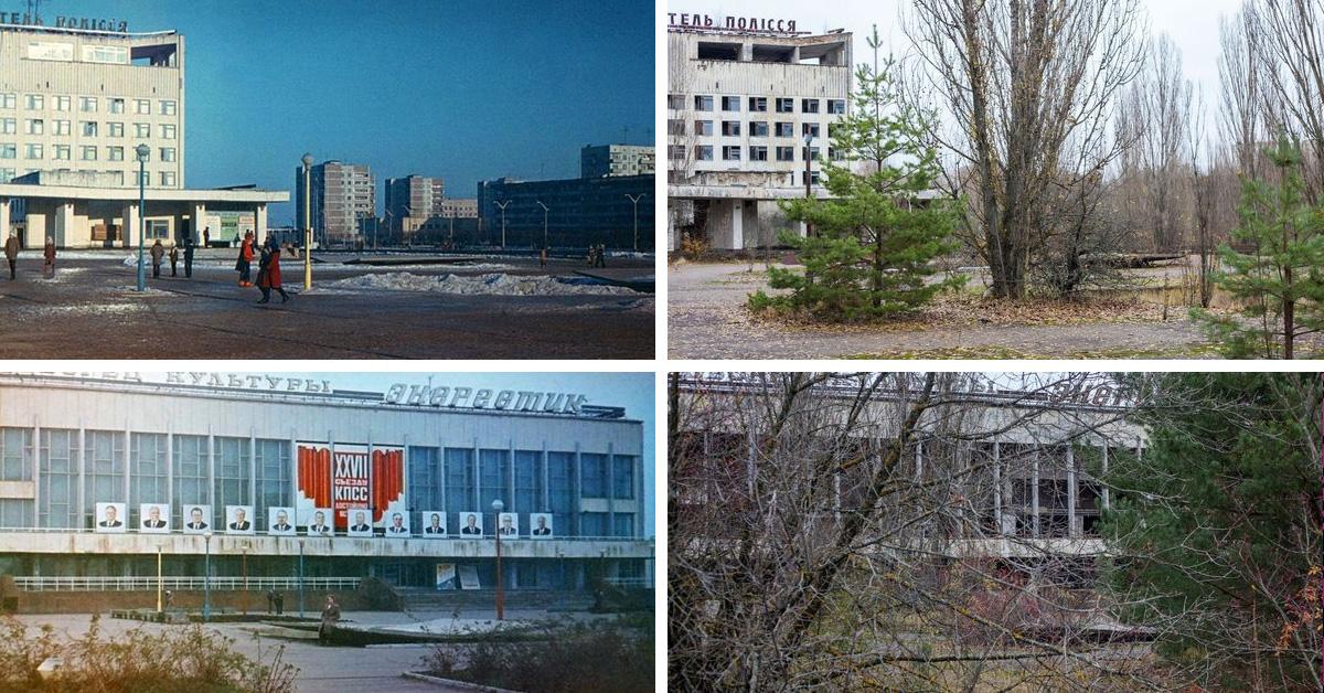 Припять: как сейчас выглядит гиблое место и как оно выглядело 30 лет назад