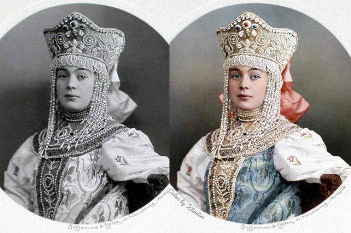 Бал-маскарад в Зимнем дворце. 1903 год. Раскрашенные фотографии