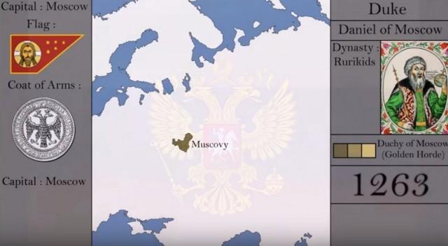 История России в анимированной карте с 1263 года до наших дней