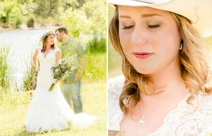 Невеста сделала свадебные фотографии со своим женихом после его трагической гибели